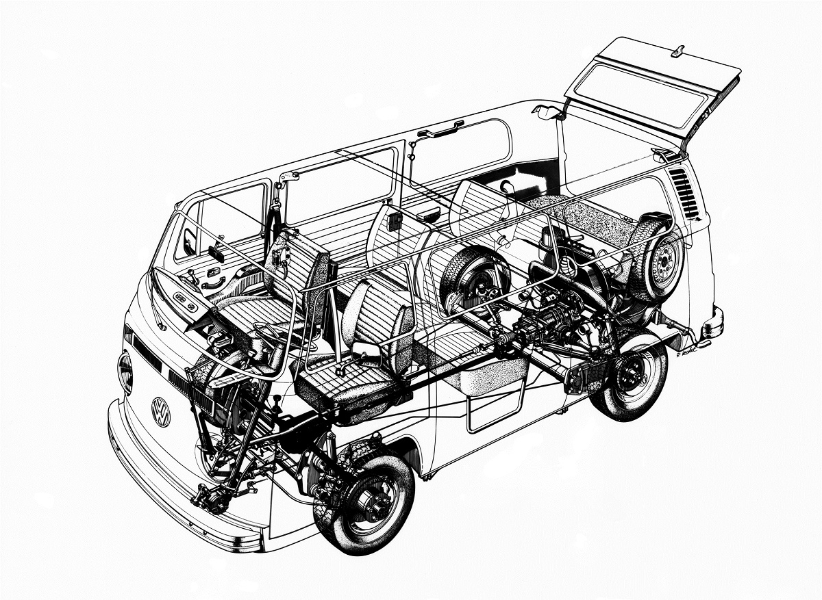 A look at the experimental four-wheel drive Volkswagen Bus