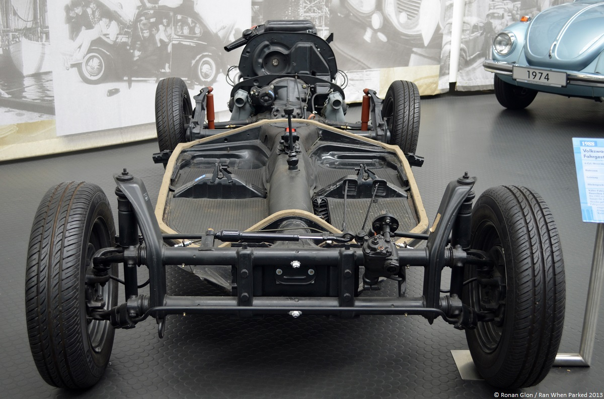 volkswagen museum wolfsburg beetle chassis ran when parked. Black Bedroom Furniture Sets. Home Design Ideas