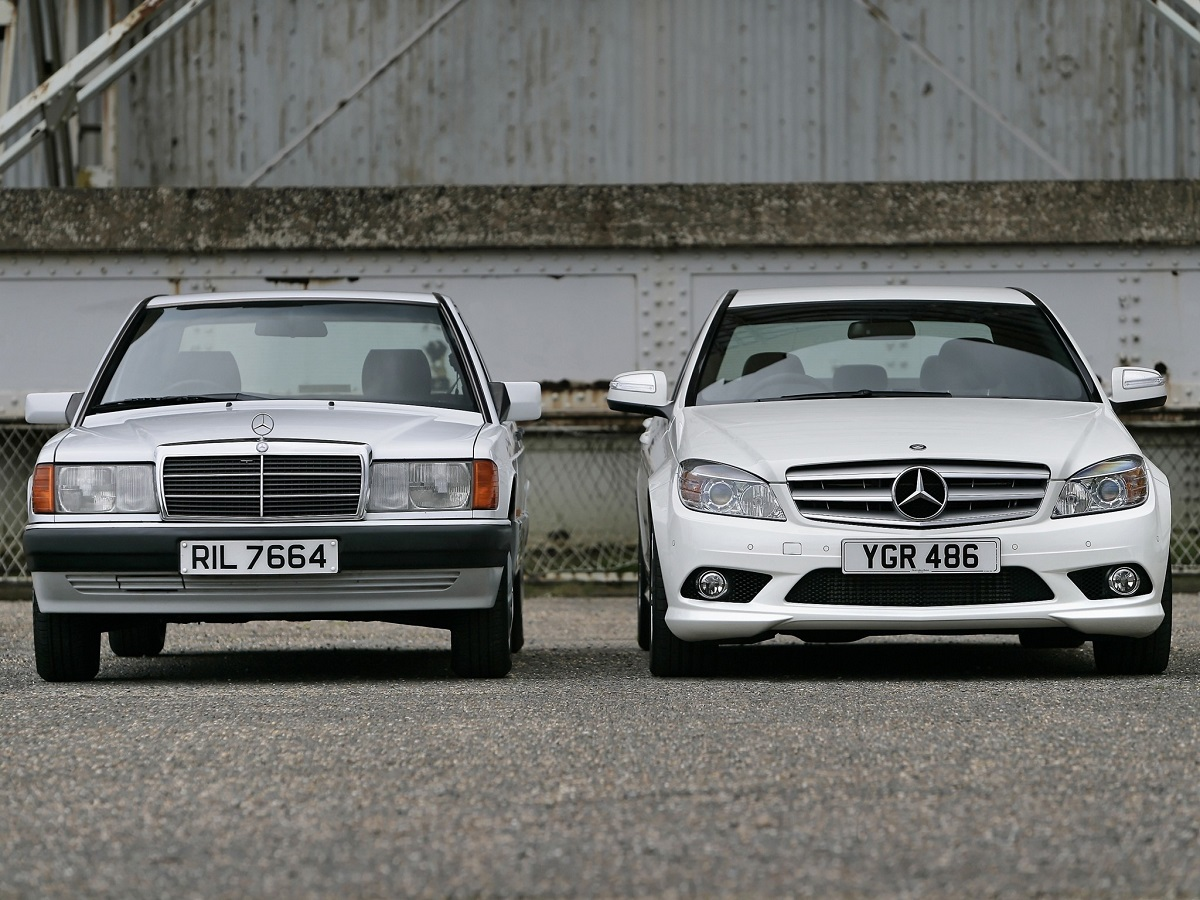 Topical advertising old vs new ran when parked for Mercedes benz c class vs e class