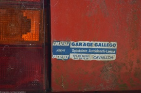 A collection of vintage dealerstickers