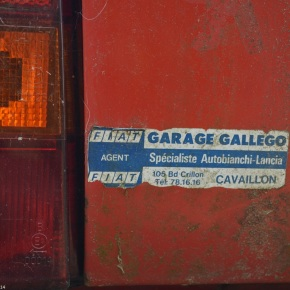 A collection of vintage dealer stickers