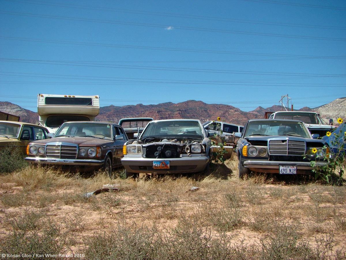 Ranwhenparked utah junkyard mercedes lineup ran when parked for Mercedes benz junkyard