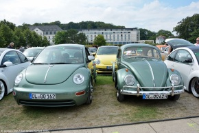 His and hers: Twin Volkswagen Bugs displayed at the Beetle Sunshine Tour
