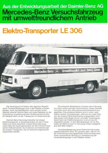 Debüt des Elektrotransporters Mercedes-Benz LE 306 vor 45 Jahren: Zukunft unter Strom im Jahr 1972